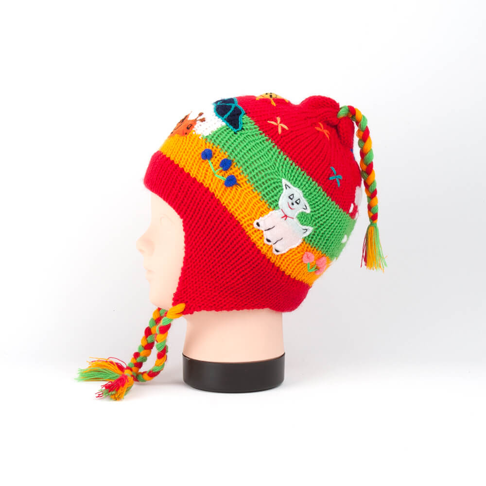 Peruanische Ohrenklappenmütze für Kinder, rot
