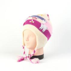 Kindermütze aus Peru - weiß rosa