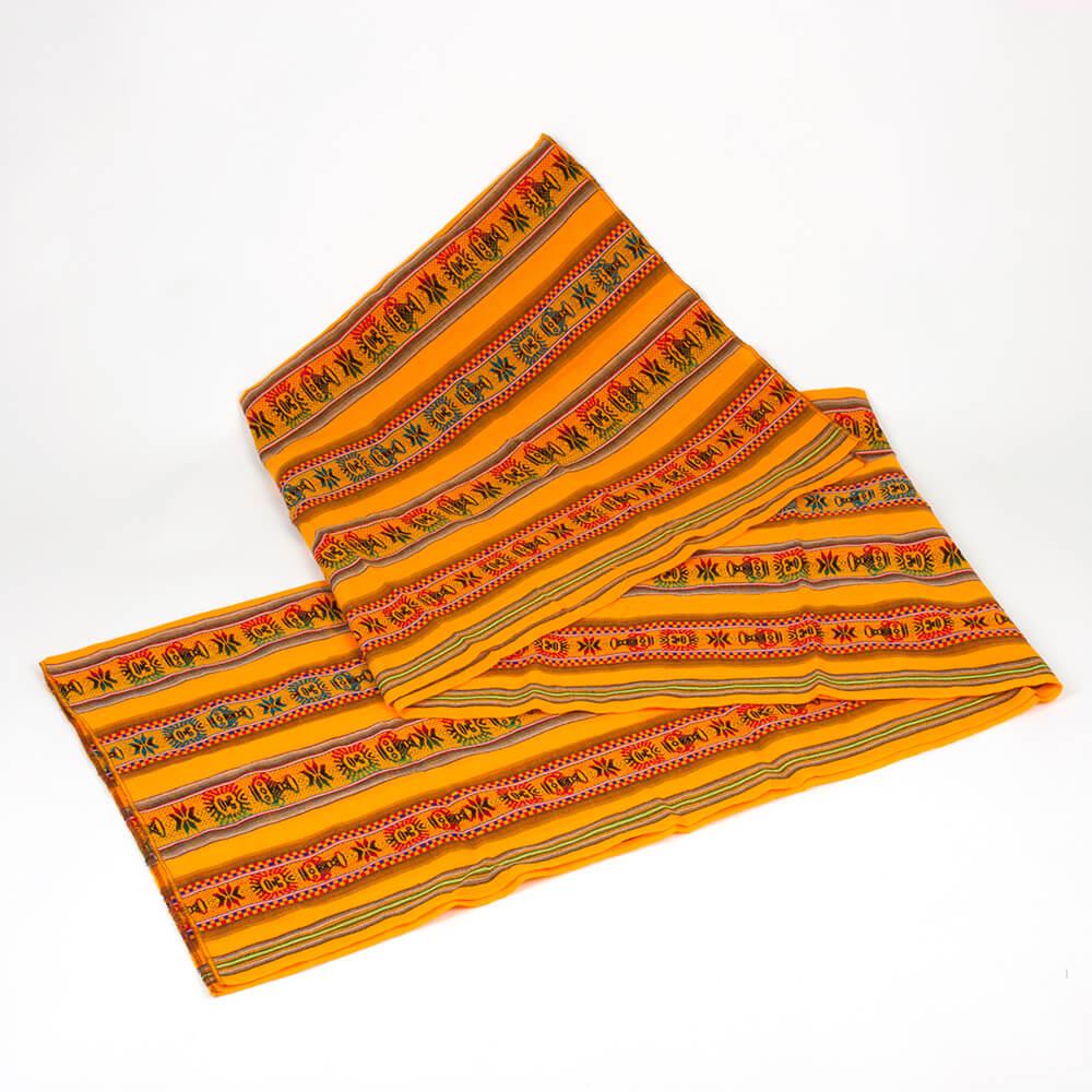 Aguayo Decke aus Bolivien, orange mit Symbolen