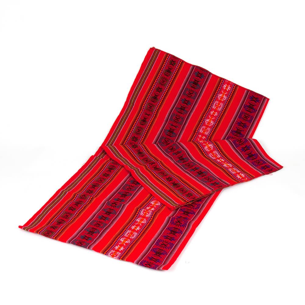 Aguayo Decke aus Bolivien, rot mit Symbolen