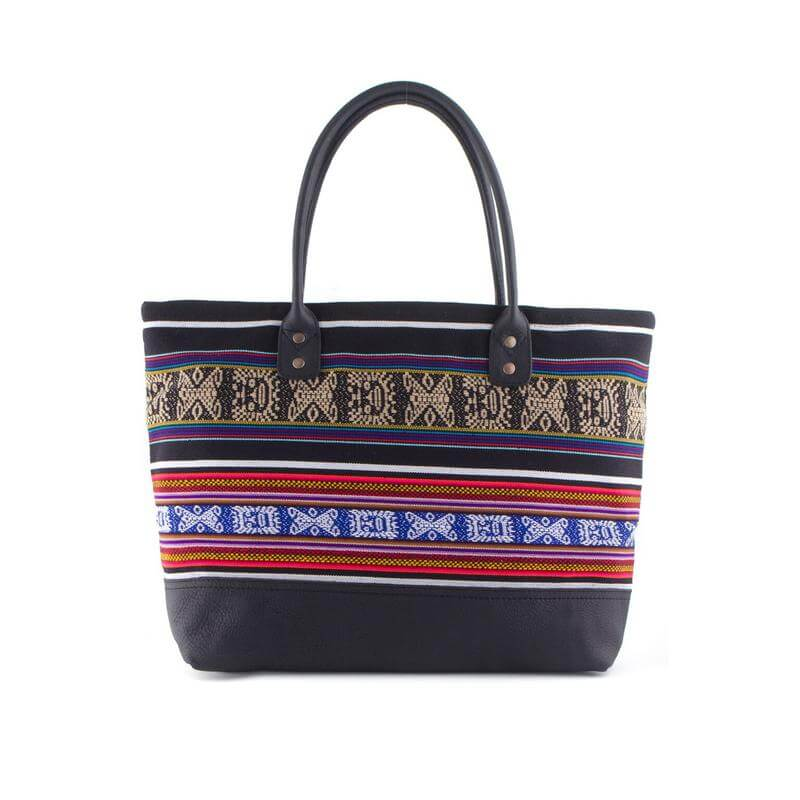 Henkeltasche aus Aguayo und Leder, schwarz rot - Tote Bag von INKKAS