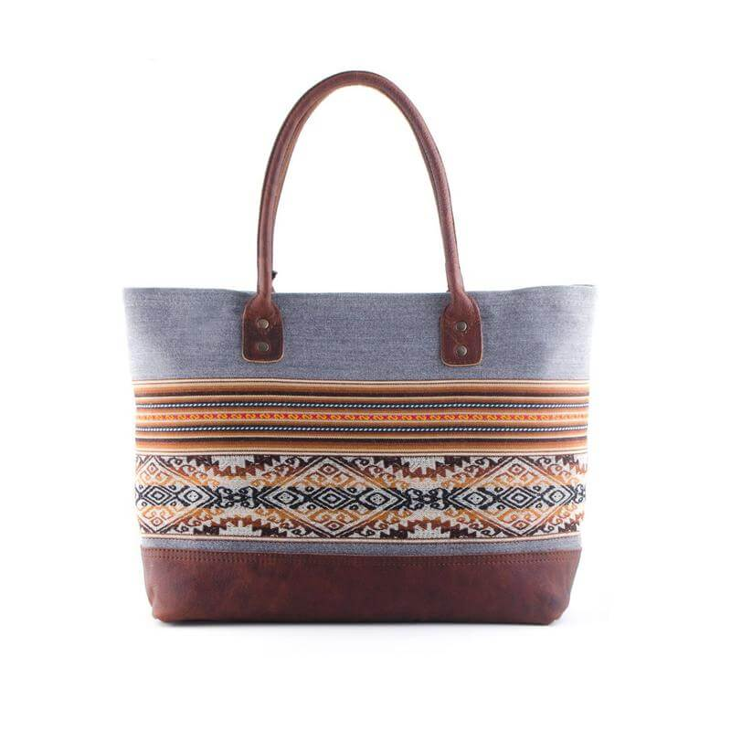 Henkeltasche aus Aguayo und Leder, braun - Tote Bag von INKKAS