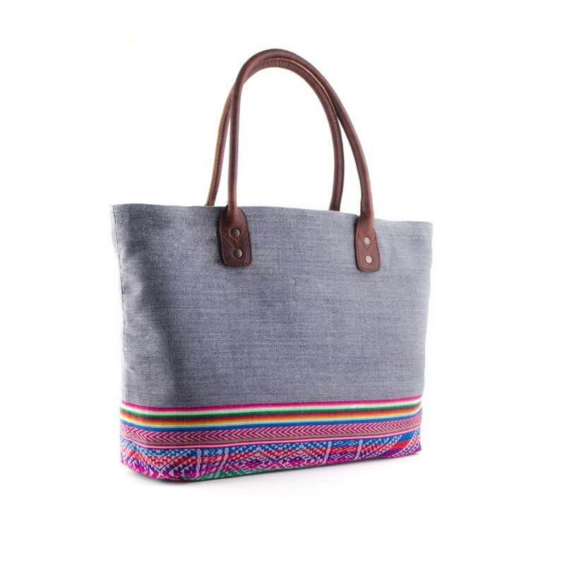 Henkeltasche aus Aguayo, grau - Tote Bag von INKKAS