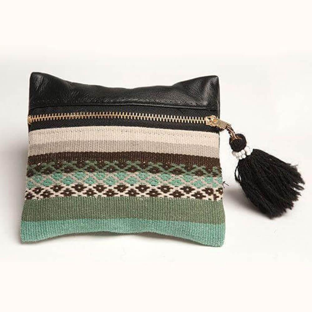 Geldbeutel aus Wolle und Leder, türkis, Threads of Peru