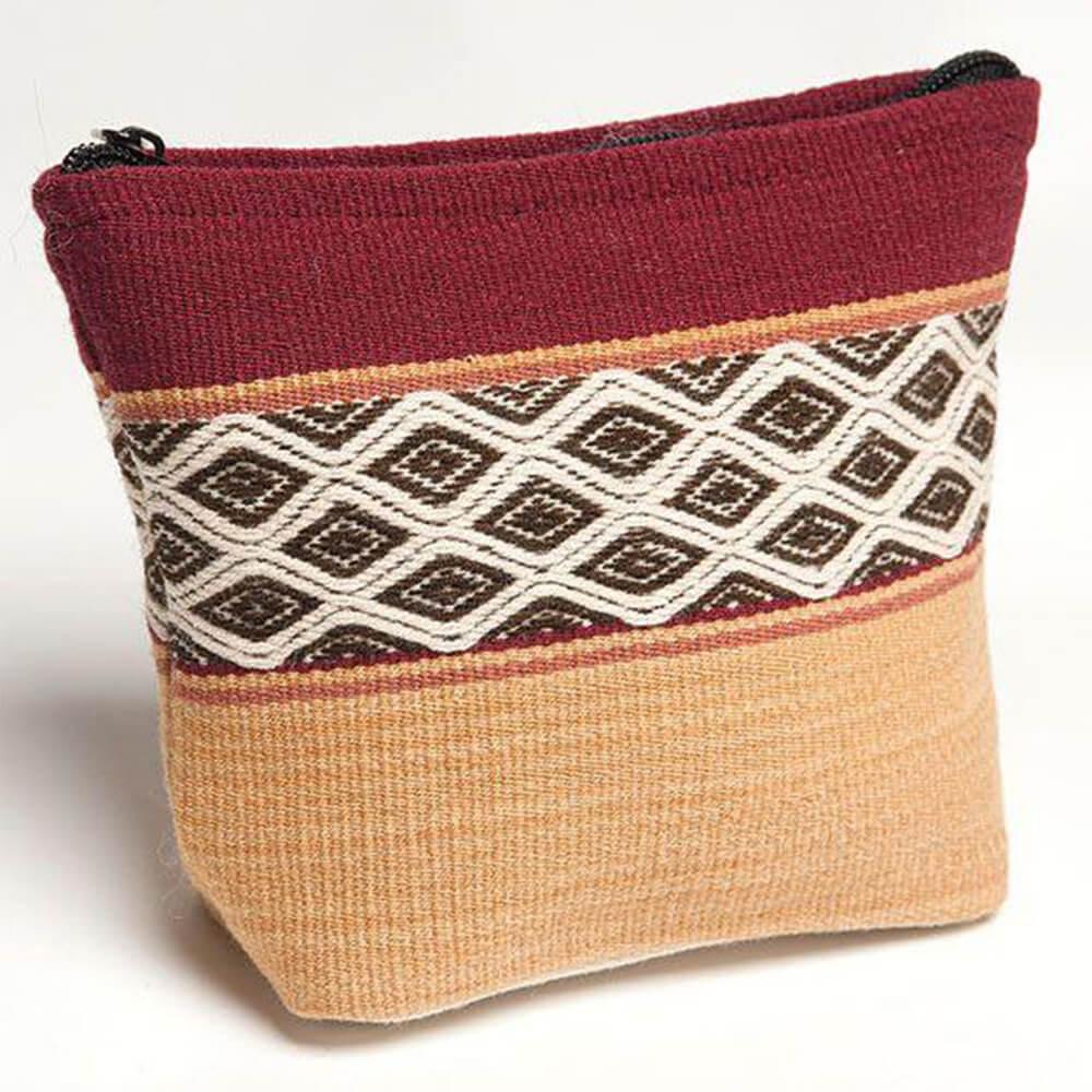 Kosmetiktasche aus Peru mit traditionellem Muster, rot