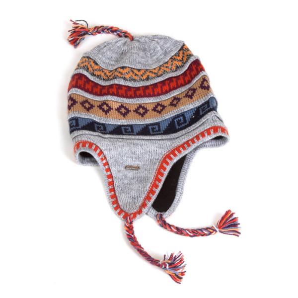 Ohrenklappenmütze aus Peru hellgrau