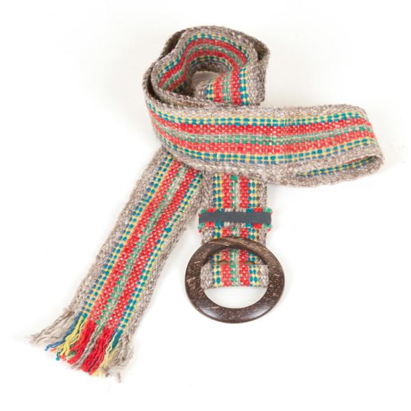 Gürtel aus Peru - rot grün gestreift