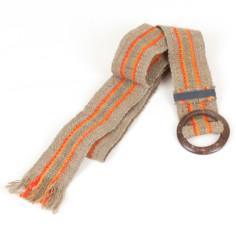 Gürtel aus Peru - orange beige gestreift