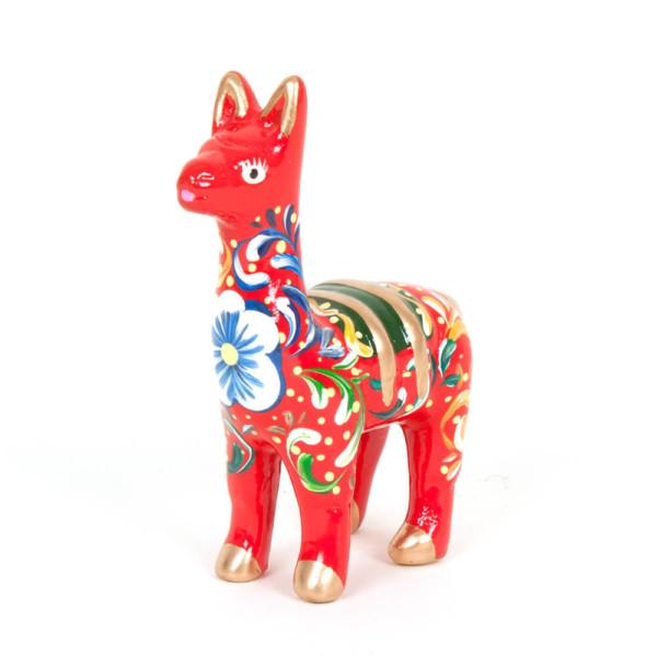 Lama aus Keramik, rot