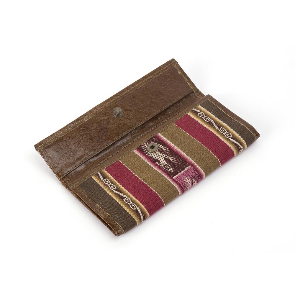 Geldbörse aus Leder und Aguayo Stoff